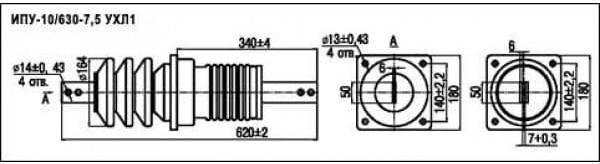 размеры изолятора ІПУ-10/630-7,5-1 УХЛ1
