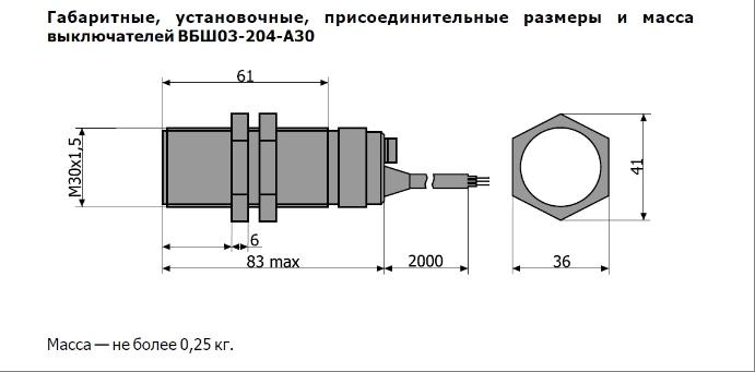 габариты ВБШ03-204-А30