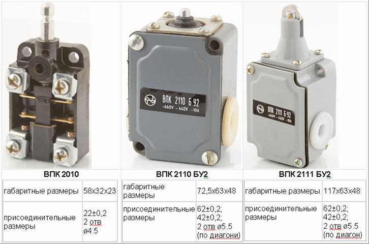 Электросервис,044-501-37-45,Выключатели путевые прямого действия (конечные) серии ВПК – 2000