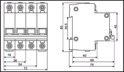 Габариты - Автоматические выключатели ВА47-29 ИЭК