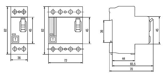 Габаритные размеры-Выключатели дифференциальные ВД1-63 (УЗО тип А)